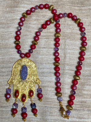 Large gold plated Hamsa pendant SERRAHNA