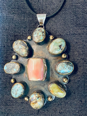 Shield of Zena pendant Coral center