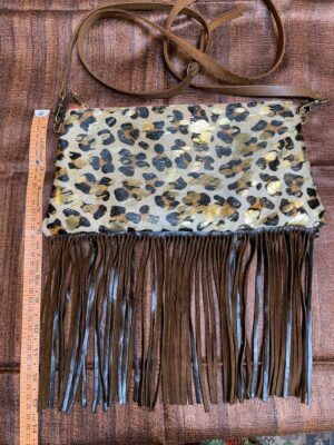 Leopard Print Gold Foil Fringe Leather Bag East-west Serrahna Andrea Serrahn