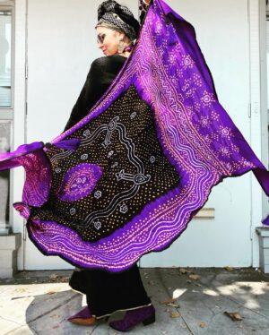 Bandhani silk satin hand dyed and tied shawl purple Andrea Serrahn Serrahna