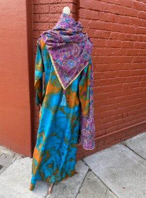 """Silk tie dye maxi kurti size 44"""" chest Medium 108MXM $164 Hand embroidered silk paisley floral with multi colored hand crocheted tassels TTSS $125"""