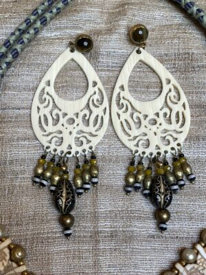 Ivory resin chandelier brass black rare ceramic dead drops faceted tiger eye post earrings Andrea Serrahn Serrahna
