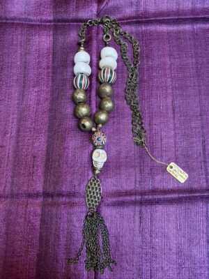 African cow bone brass handrolled ceramic Java skull bead necklace with brass tassle Andrea Serrahn Serrahna