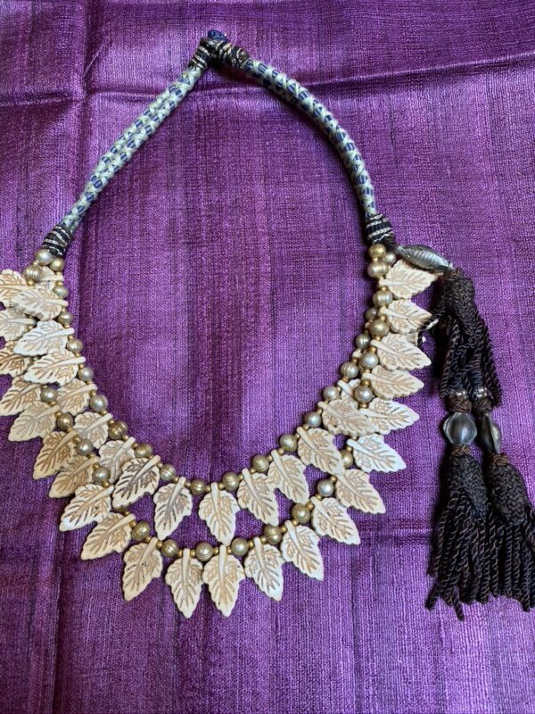 Carved ivory leaf dirty pearl vintage tassles lapis button loop closure necklace Andrea Serrahn Serrahna
