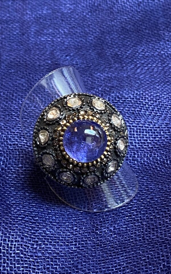 Domed tanzanite ring 10 diamonds silver with 24 kt gold plate ring Andrea Serrahn Serrahna