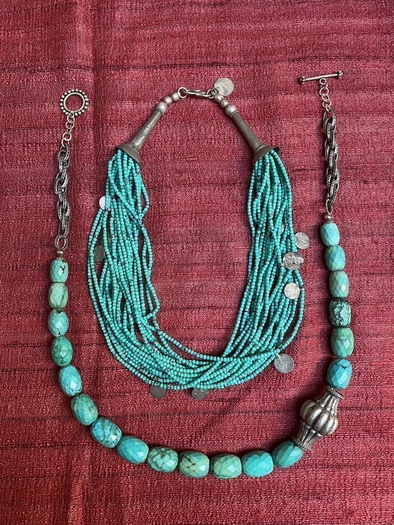 Faceted turquoise tribal patterned pattras seed beads vintage Indian silver Andrea Serrahn Serrahna