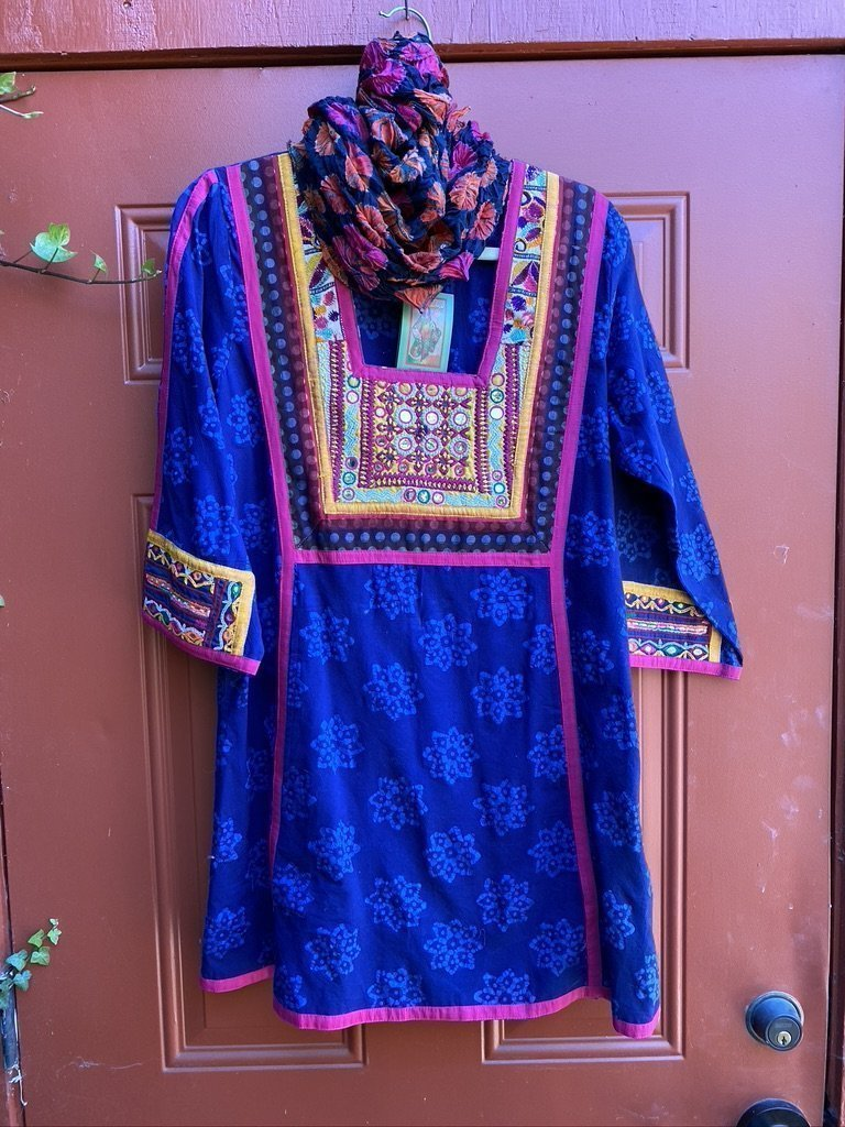Dark Blue Floral/Pink/Gold Tribal Tunic